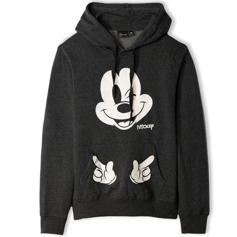 Disney Mickey Mouse Women's Teenager's Hoodie Hooded Sweatshirt  - Dark Grey