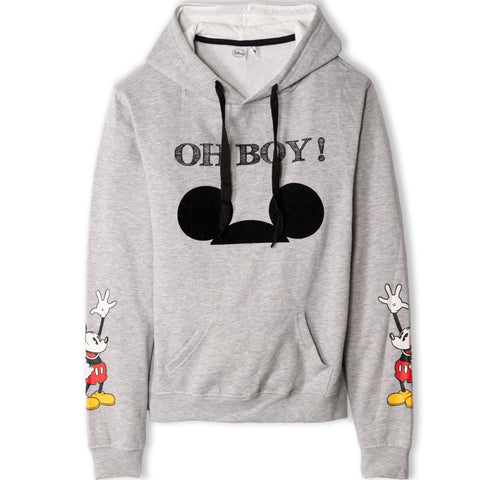 Disney Mickey Mouse Women's Teenager's Hoodie Hooded Sweatshirt  - Light Grey