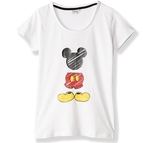 Disney Mickey Mouse Women's Cotton T-Shirt S, M, L, XL - White
