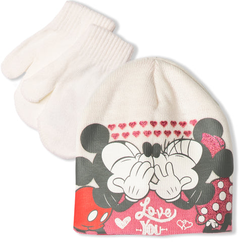 Disney Minnie & Mickey Mouse baby girls winter set - hat and gloves 0-2 Years - Off White