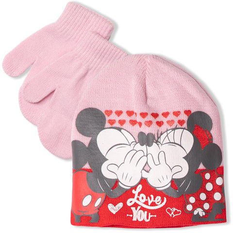 Disney Minnie & Mickey Mouse baby girls winter set - hat and gloves 0-2 Years - Pink