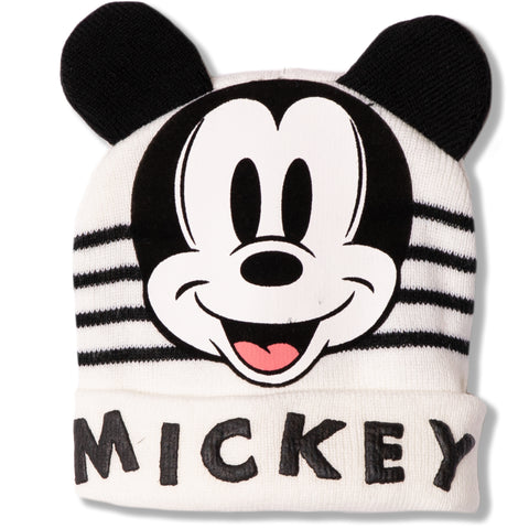 Disney Mickey Mouse baby boys, girls winter beanie hat 0-2 Years - Off White