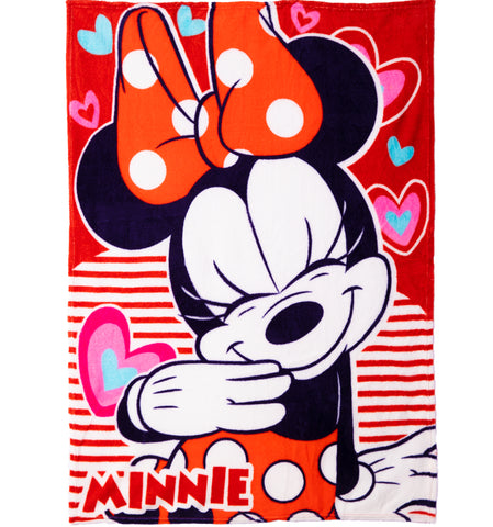 Disney Minnie Mouse Character Blanket Soft Coral Fleece 90 x 120 cm