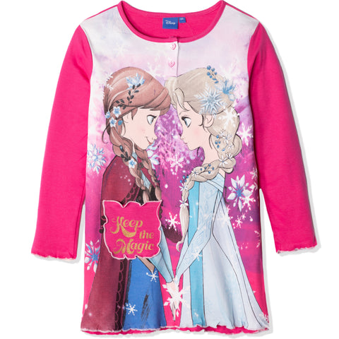 Disney Frozen Long Sleeve 100% Cotton Nightdress for Girls 2-8 Years - Fuchsia