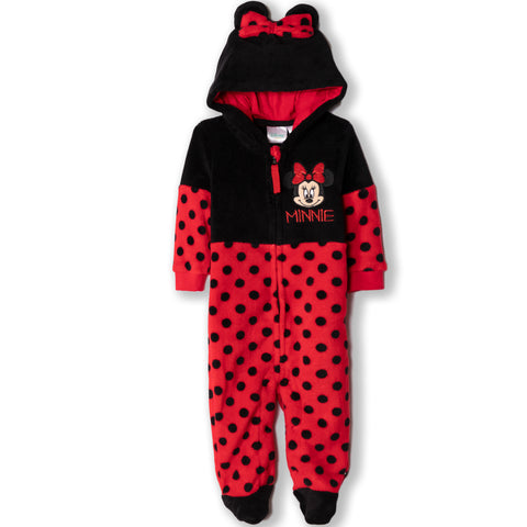 Disney Baby Minnie Mouse Girls Warm Jacket Coral Fleece Onesie 0-18 Months
