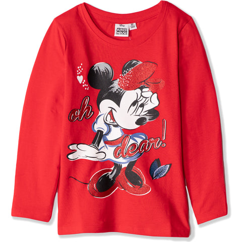 Disney Minnie Mouse Girls Long Sleeve Cotton Top T Shirts 2-8 Years - Red