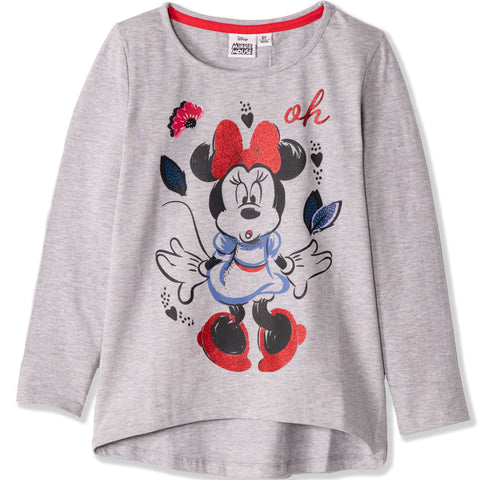 Disney Minnie Mouse Girls Long Sleeve Cotton Top T Shirts 2-8 Years - Grey
