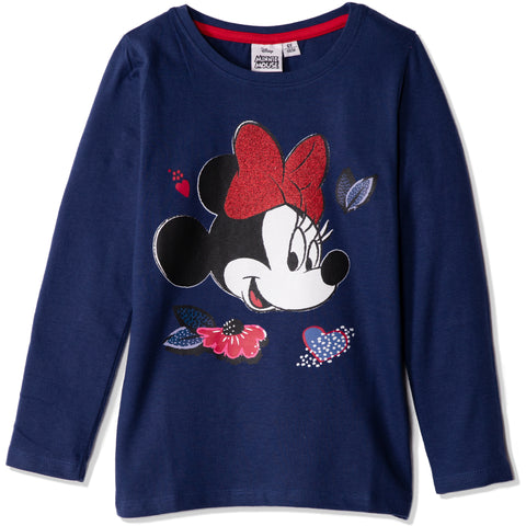 Disney Minnie Mouse Girls Long Sleeve Cotton Top T Shirts 2-8 Years - Navy