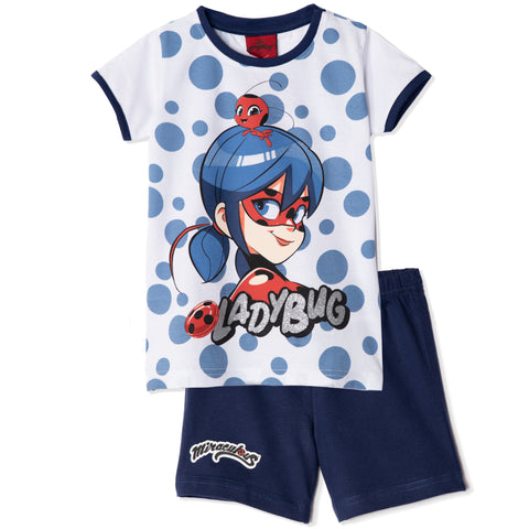 Miraculous LadyBug Girls Short Sleeve Cotton Pyjamas Set 5-11 Years - Blue