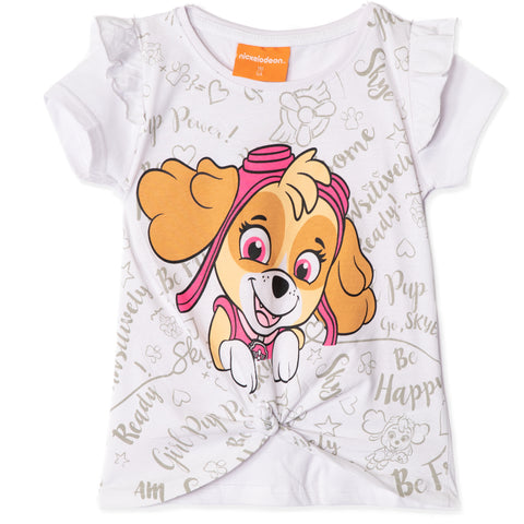Paw Patrol Short Sleeve Cotton T-Shirt Girls 2-8 years - Knotted Front - White