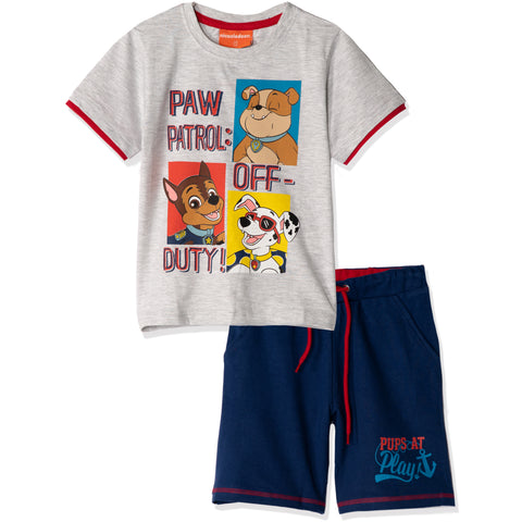Paw Patrol Summer Outfit Cotton Set T-Shirt and Shorts  Boys 2-8y - Grey