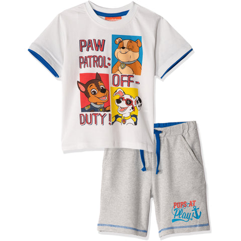 Paw Patrol Summer Outfit Cotton Set T-Shirt and Shorts  Boys 2-8y - White