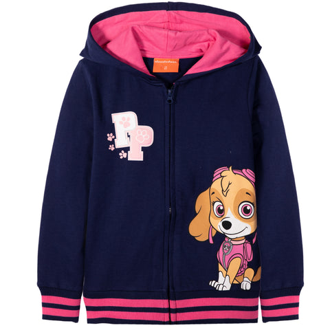 Paw Patrol, Zipped Hoodie made with Cotton for Girl's 2-8 years - Navy