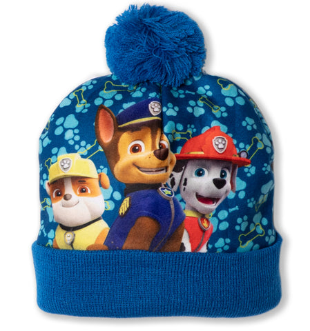 Paw Patrol Boys Winter Bobble PomPom Velvet Hat 2-8 Years