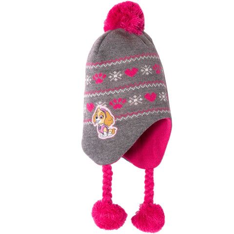 Paw Patrol Winter Trapper Style Knitted Hat Girls 2-8 Years - Grey - Skye