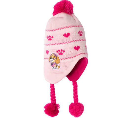Paw Patrol Winter Trapper Style Knitted Hat Girls 2-8 Years - Pink  - Skye