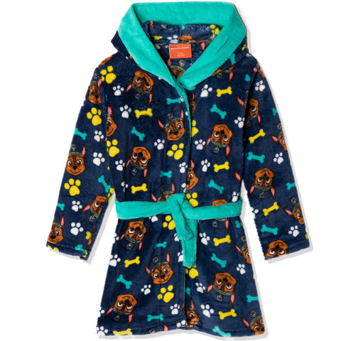 Paw Patrol Coral Fleece Hooded Bathrobe/ Dressing Gown for boys girls 2-8 years - Navy