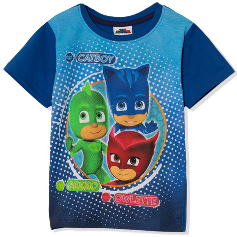 PJ Masks Boys Girls Short Sleeve Top, T-Shirt 100% Cotton 2-8 years - Blue