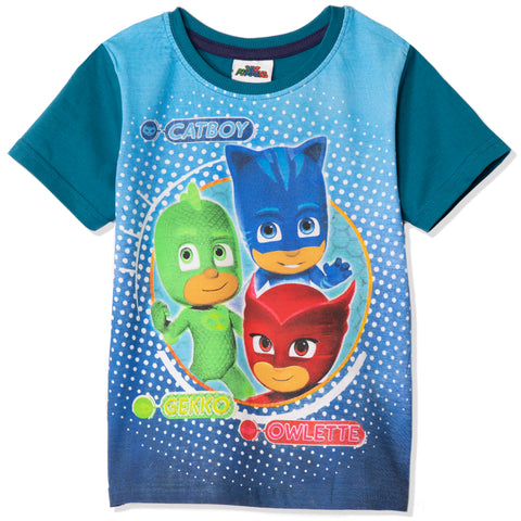PJ Masks Boys Girls Short Sleeve Top, T-Shirt 100% Cotton 2-8 years - Turquoise