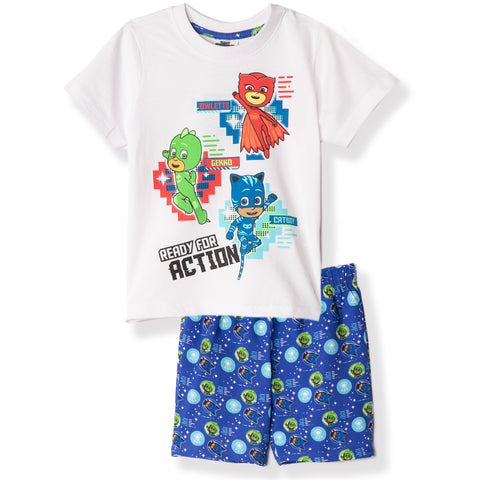 PJ Masks Boys Girls Short Sleeve Pyjamas Set 100% Cotton 2-8 years - White