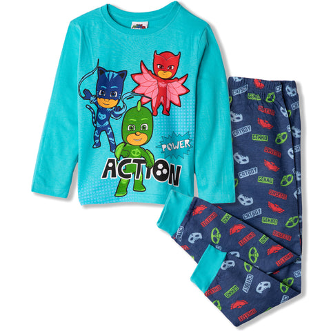 PJ Masks Boys Girls Long Sleeve Pyjamas Set 100% Cotton 2-8 years - Light Blue