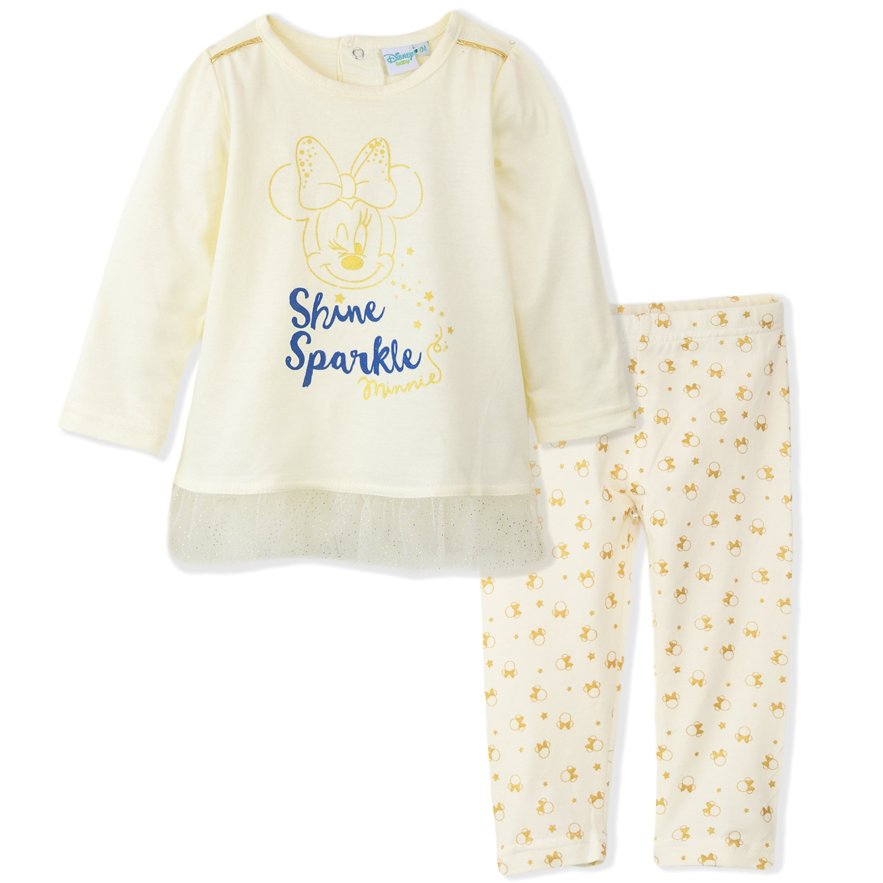 Disney Minnie Mouse Baby Girls Outfit Clothes Set Long Top and Leggings 9-36 Months - Beige