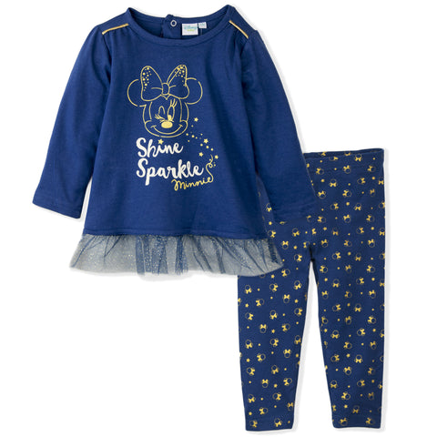 Disney Minnie Mouse Baby Girls Outfit Clothes Set Long Top and Leggings 9-36 Months - Navy
