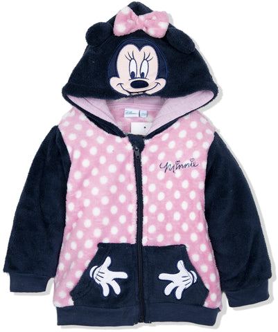 Disney Minnie Mouse Baby Girls Warm Hoodie,  Coral Fleece 9 Months - 3 Years - Pink