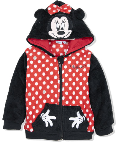 Disney Minnie Mouse Baby Girls Warm Hoodie,  Coral Fleece 9 Months - 3 Years - Red