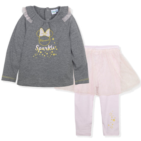 Disney Minnie Mouse Baby Girls Outfit Set Top and Leggings 9-36 Months - Grey/Pink