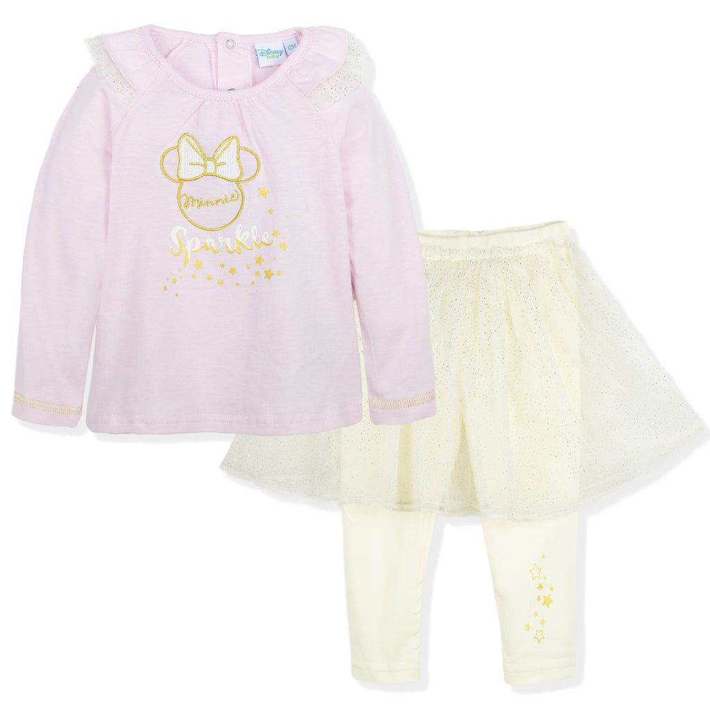 Disney Minnie Mouse Baby Girls Outfit Set Top and Leggings 9-36 Months - Pink/Beige