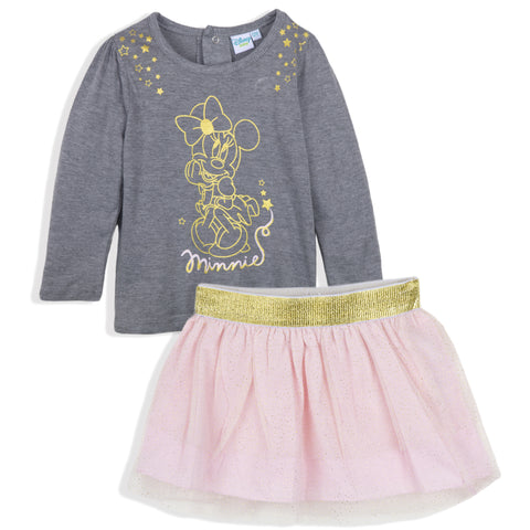 Disney Minnie Mouse Baby Girls Outfit Clothes Set Long Top and Skirt 9-36 Months - Grey