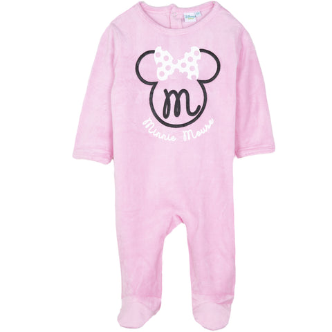 Disney Minnie Mouse Baby Girls Velvet Sleepsuit, Footie 0-24 Months - Pink