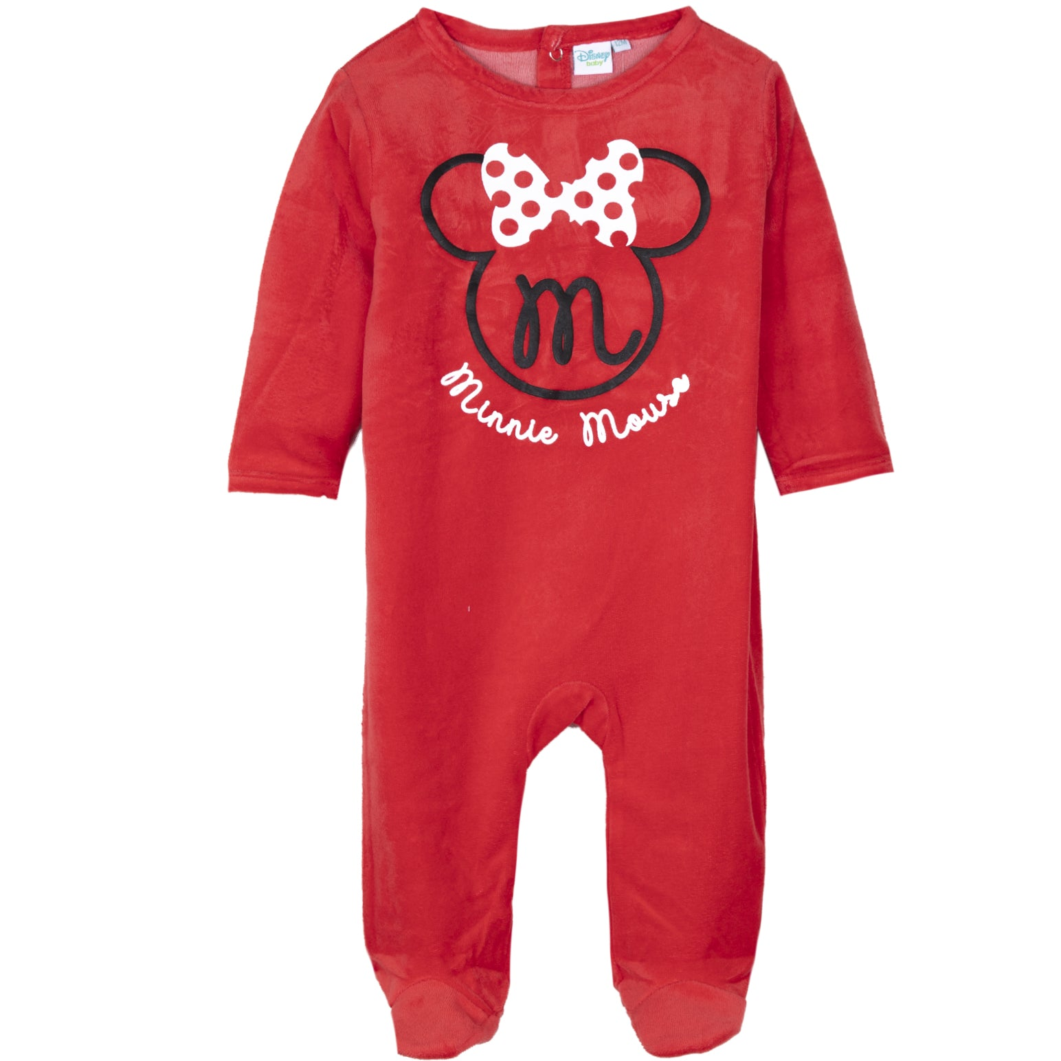 Disney Minnie Mouse Baby Girls Velvet Sleepsuit, Footie 0-24 Months - Red