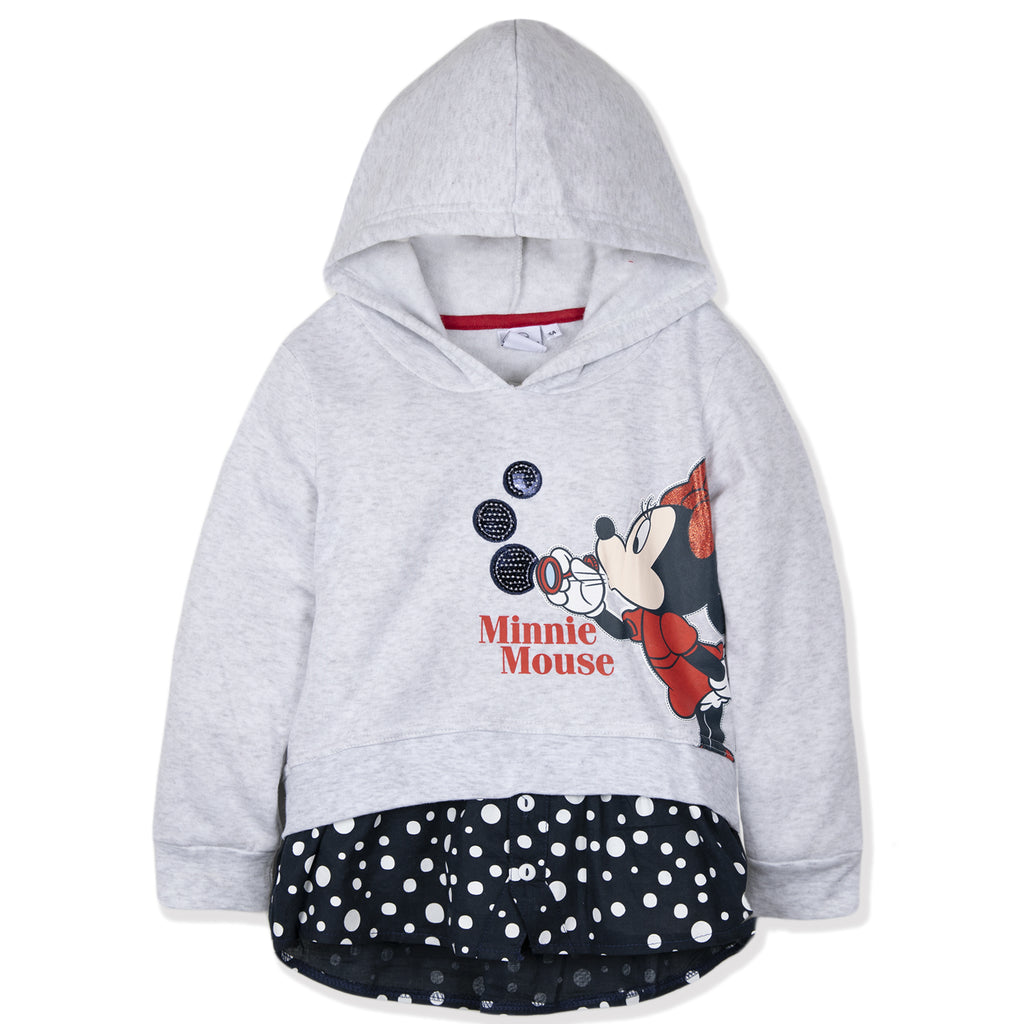 Disney Minnie Mouse Girls Hoodie, Hooded Jumper Classic Dots Pattern 2-8 Years - Grey