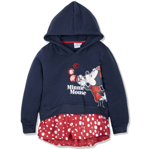 Disney Minnie Mouse Girls Hoodie, Hooded Jumper Classic Dots Pattern 2-8 Years - Navy