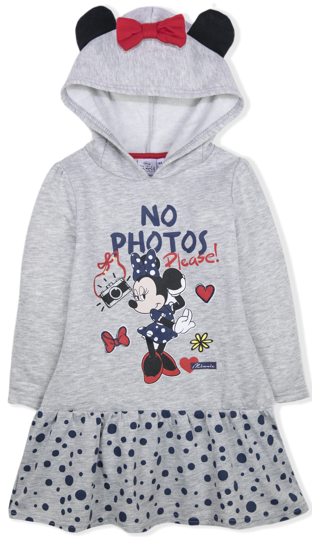 Disney Official Minnie Mouse Girls Hoodie Dress Long Tunic Sweatshirt Short Sleeve 2-8 Years New 2018