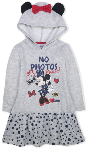 Disney Minnie Mouse Girls Hoodie, Hooded Dress / Tunic 2-8 Years - Grey