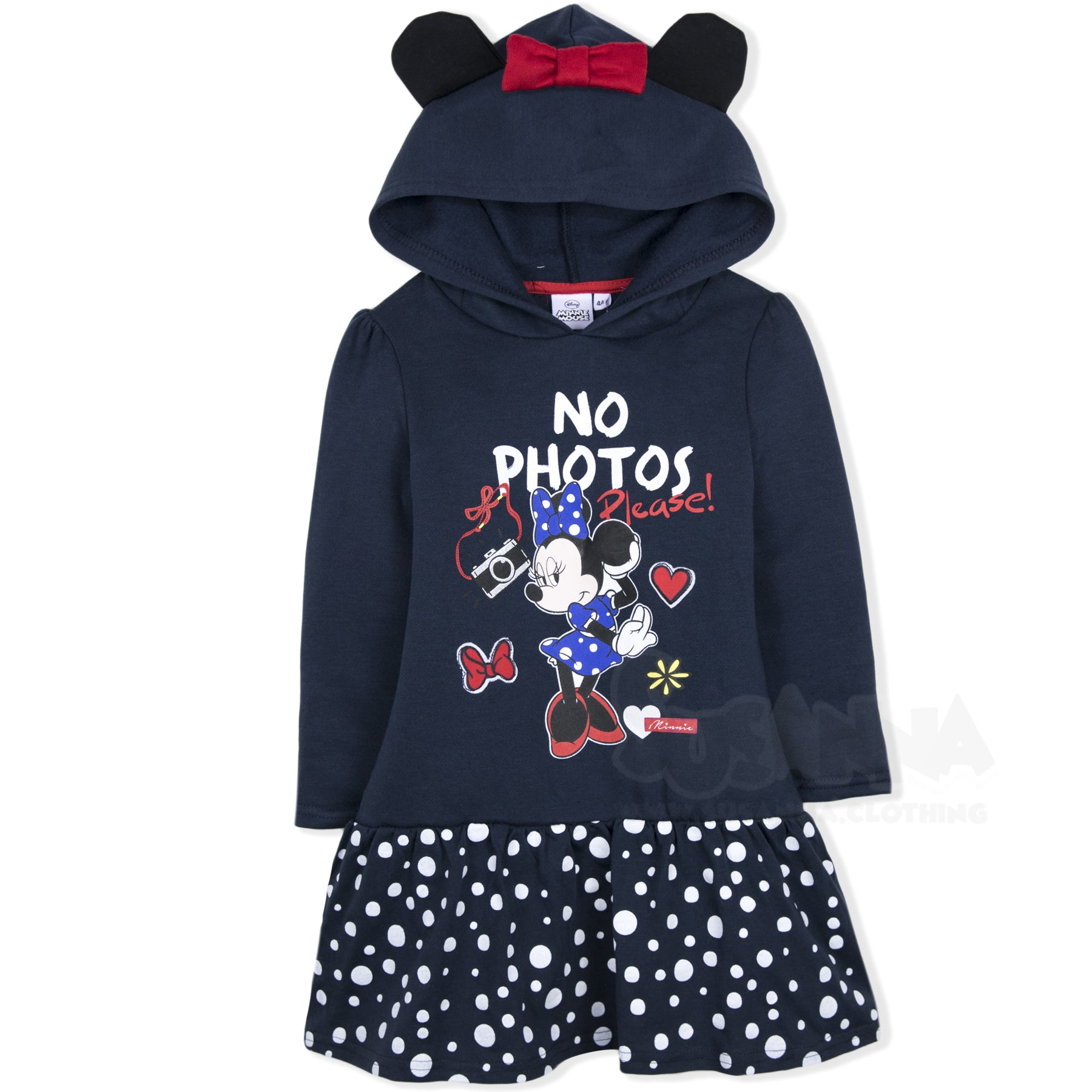 e2aebf670 Disney Minnie Mouse Girls Hoodie, Hooded Dress / Tunic 2-8 Years - Navy ...