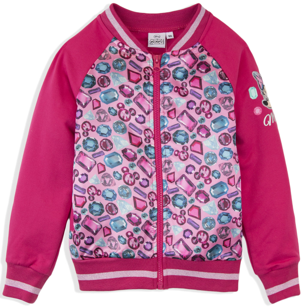 Disney Minnie Mouse Girls Baseball, Bomber Jacket Diaments Pattern 2-8 Years - Fushia