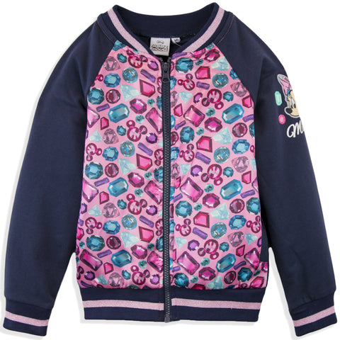 Disney Minnie Mouse Girls Baseball, Bomber Jacket Diaments Pattern 2-8 Years - Navy