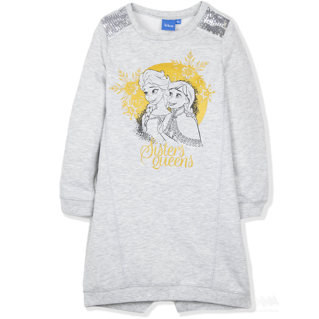 Disney Frozen Girls Jumper Style Tunic, Warm Winter Dress 3-8 Years - Grey
