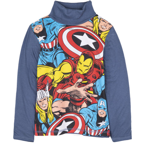 The Avengers Marvel Boys Long Sleeve Turtle Neck Top 100% Cotton 3-10 Years - Blue