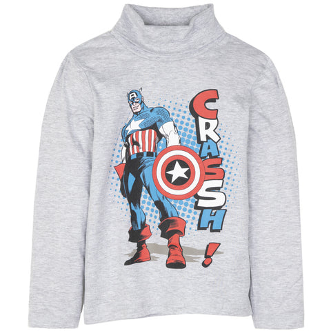 The Avengers Marvel Boys Long Sleeve Turtle Neck Top 100% Cotton 3-10 Years - Grey