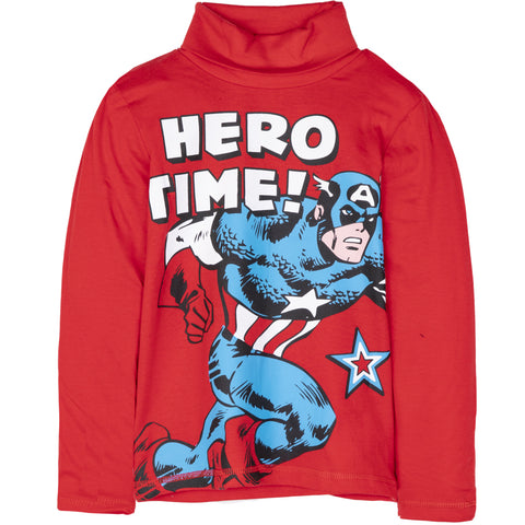 The Avengers Marvel Boys Long Sleeve Turtle Neck Top 100% Cotton 3-10 Years - Red