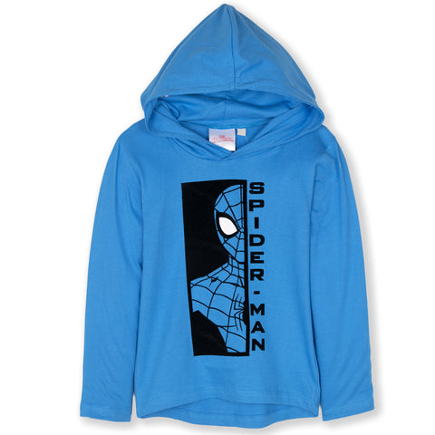 Spiderman Marvel Boys Long Sleeve Hooded Top 100% Cotton 2-8 Years - Blue