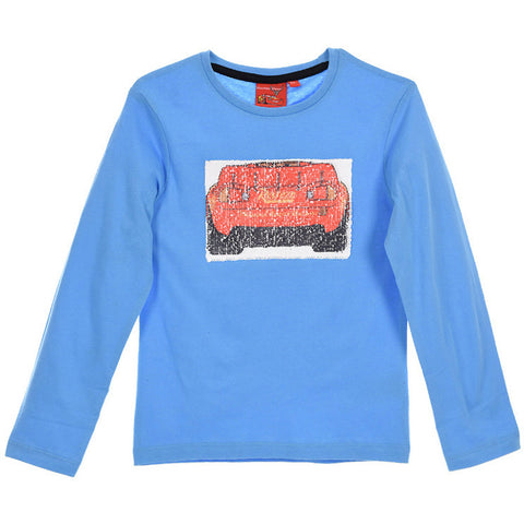 Disney Pixar Cars Boys Long Sleeve Top with Reversible Sequins 2-8 years - Blue