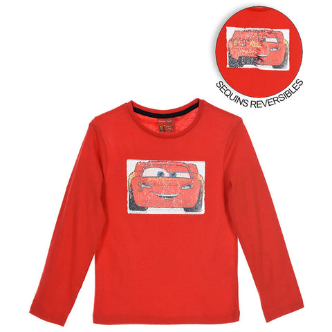 Disney Pixar Cars Boys Long Sleeve Top with Reversible Sequins 2-8 years - Red