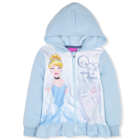 Disney Princess Girls Character Zipped Hoodie 2-6 Years - Blue, Cinderella