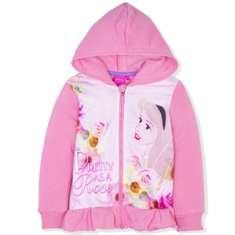 Disney Princess Girls Character Zipped Hoodie 2-6 Years - Pink, Aurora